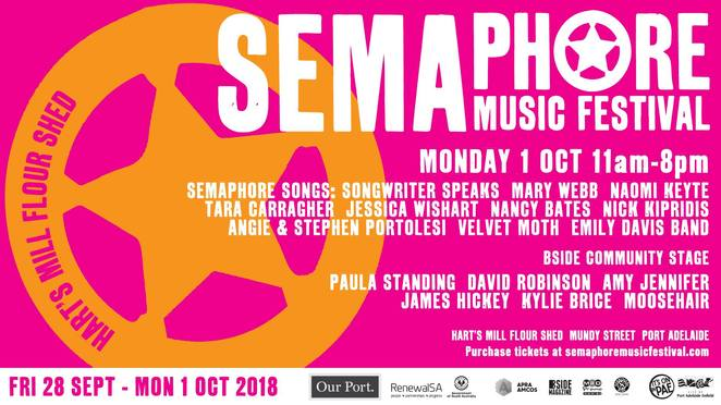 semaphore music festival 2018, city of port adelaide, enfield council, hart's mill flour shed, bside community stage, songwriter speaks, songstress, vocalistgs, entertainment, performers, community event, fun things to do, bands, semaphore workers club, semaphore songs, live concerts, americana, roots, blues, family fun, folk, indie rock, pubs, clubs,