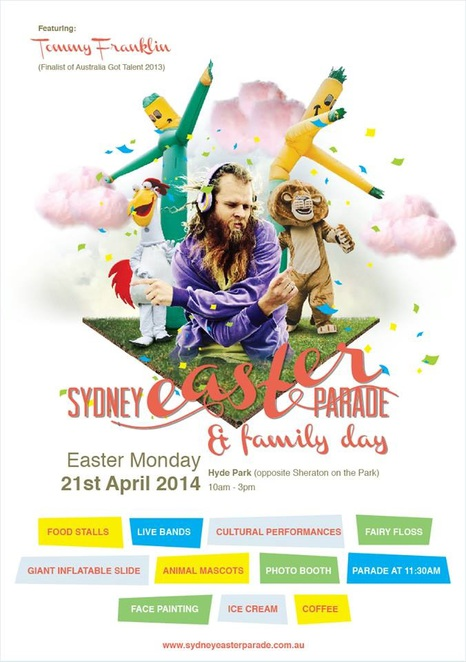 Flyer for the 2014 Sydney Easter Parade and Family Day