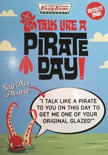 talk like a pirate, pirate, 19 september, doughnut, donut, krispy kreme