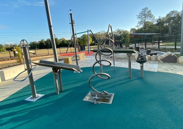 The new waterplay area includes a number of hand pumps, with various routes for the water to travel along
