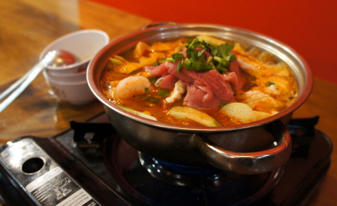 The combination hot pot is great in winter
