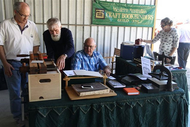 Act-Belong-Commit Traditional Trades Day at the South West Rail and Heritage Centre. The Western Australian Craft Bookbinders Guild members are always a popular attraction demonstrating their ancient skill.