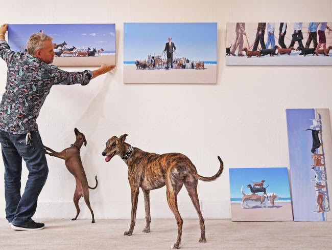 andrew baines, art, art exhibition, Dachshunds, adelaide, exhibition, dogs, short, henley beach, hows it hanging