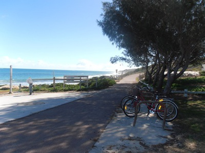 The bike path at beautiful Burn's Beach in the northern suburbs