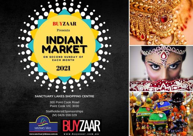 buyzaar indian market, sanctuary lakes, market stalls, shopping, community event, fun things to do, sanctuary lakes shoping centre, indian diaspora, clothing jewellery, home decor, linen, buy and sell, festive needs