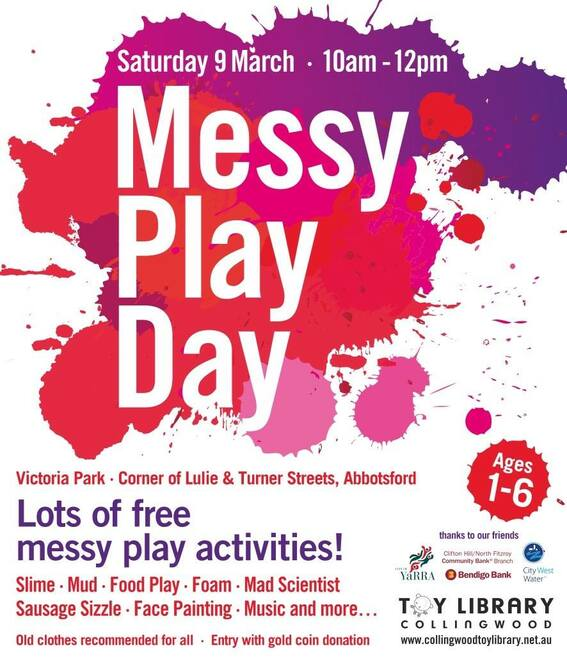 collingwood toy library's messy play day 2019, community event, fun things to do, fun for kids, free event, abbotsford, messy play activities, slime, finger painting, foam, wear old clothes