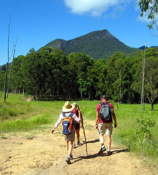 Hikers at the start of the Cronan Creek Track