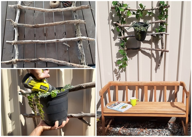 DIY, garden art, project, budget, cheap, weekend, australia, make it yourself, branches, ivy, plastic ivy, fake ivy, fake plants, pots, succulents,
