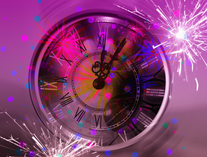 fireworks,clock,new years eve,numerals,time,purple