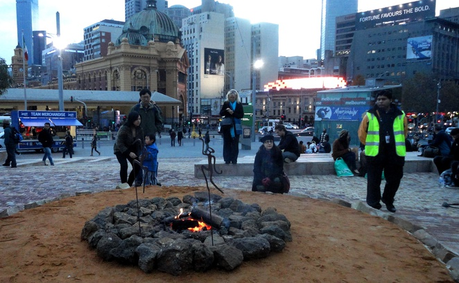indigenous campfire at federation square