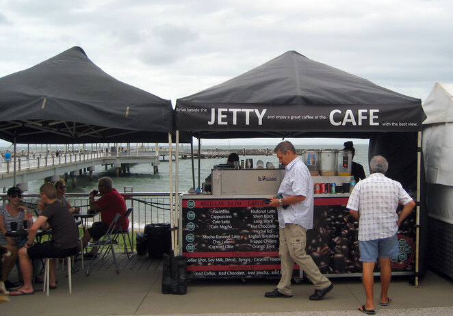 Markets on the beach front in Redcliffe