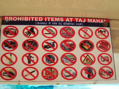 List of Prohibited Items to the Taj Mahal