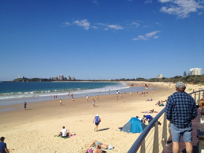 Looking out over Mooloolaba Beach from the Loo with a View