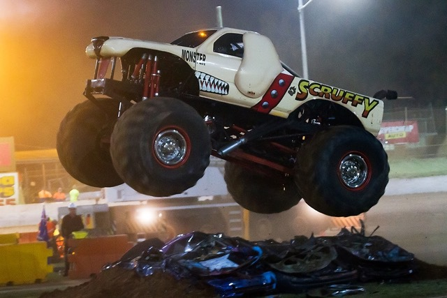 Monster madness, USA monster trucks, motorcross rider, special effects fireworks, outrageous stunts, thrills and spills, whole family, fun r