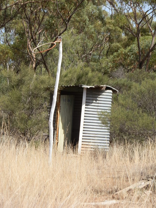 outhouse, dunny, basketball hoop, historic site, Clements Gap, bushland setting, historic site, historic school grounds, South Australia