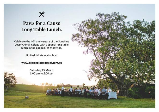 Paws for a Cause Long Table Lunch, Sunshine Coast Animal Refuge, SCARS, 40th Anniversary, temporary, safe refuge, People, Plates & Places, restaurant without walls, Sunshine Coast Hinterland, lunch in the paddock, four courses, paired wines, venue private property, plate to paddock integration between chef and farmer, tranquil, spectactacular setting, never-ending long table, white tablecloths, sparkling glasses, good food, good wine, good company, memorable experience