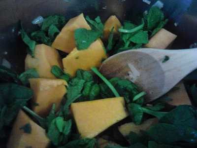 Diced pumpkin and spinach