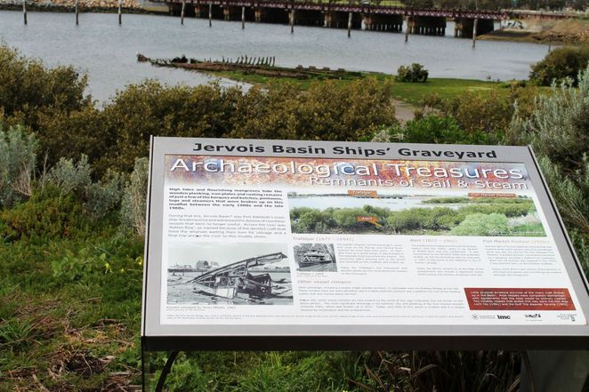 shipwreck, shipwrecks, history, adelaide, south australia, port adelaide, boardwalk, river murray, development, interpretive sign