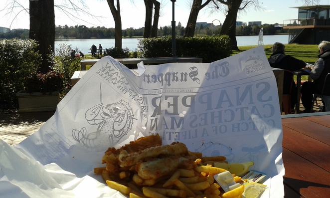 Snapper on the lake, fish and chips, lake burley griffin, canberra