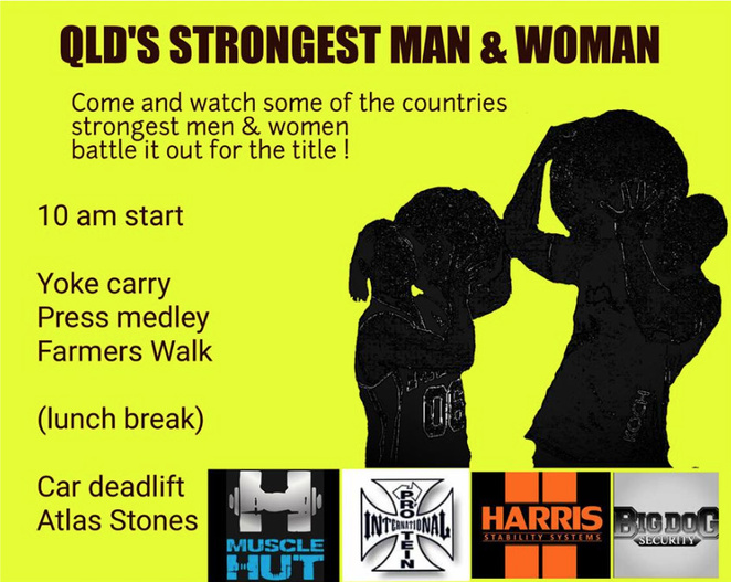 QLD Strongest Man & Woman competition at Beerwah Charity Sports & Spring Carnival 20 August 2016 - Image courtesy of organisers