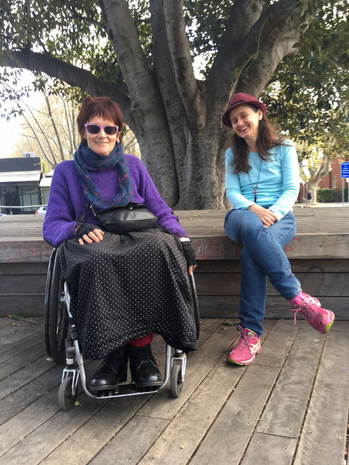 Janice Florence from Access Arts with Sally Guildford, working on a wheelchair accessible route for the show. Image provided by Sally Guildford.