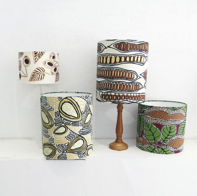 Glow: Lampshades handmade from Australian Indigenous fabric - Image Fabric for Life Facebook Page
