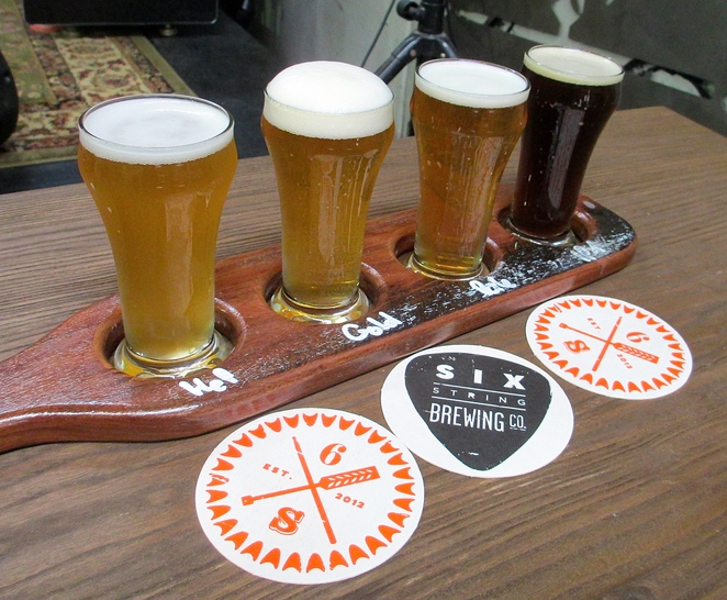beer, flight, taste, pale ale, IPA, ale, brewery, paddle, six string, six string brewing co