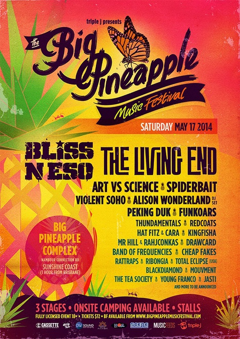 big pineapple music festival, big pineapple, bliss n eso, the living end, camping, music