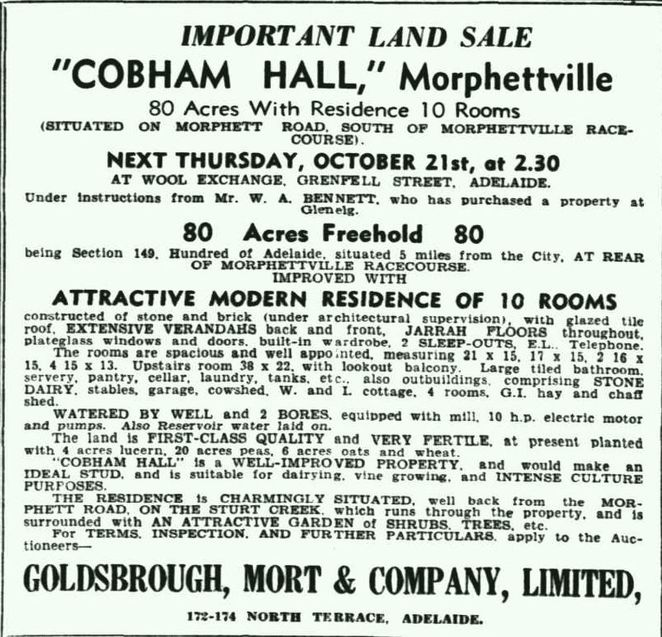 cobham, cobham hall, morphettville, heritage, heritage buildings, Adelaide, south australia, advertisement