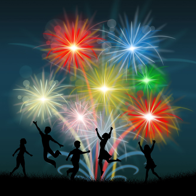 explode,fireworks,colour,figures,children,silhouettes,fireworks,joy,dance,red,blue