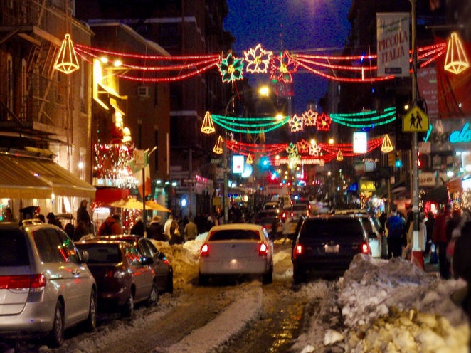 Little Italy, New York, NYC, Christmas in New York, New York City at Christmas, snow, Christmas lights, Mulburry Street