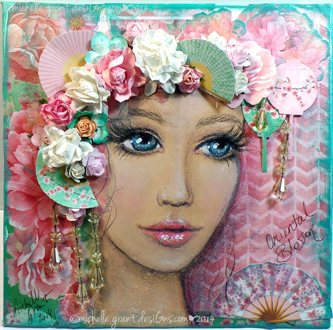 Oriental Blossom, Michelle Grant, Studio M Designs, Brisbane Scrapbook & Papercraft Expo 2015, Brisbane Convention & Exhibition Centre, Brisbane, Art, Craft, Scrapbooking, Papercraft, Mixed Media