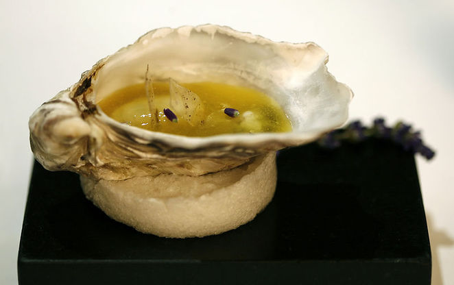 oyster in fruit jelly