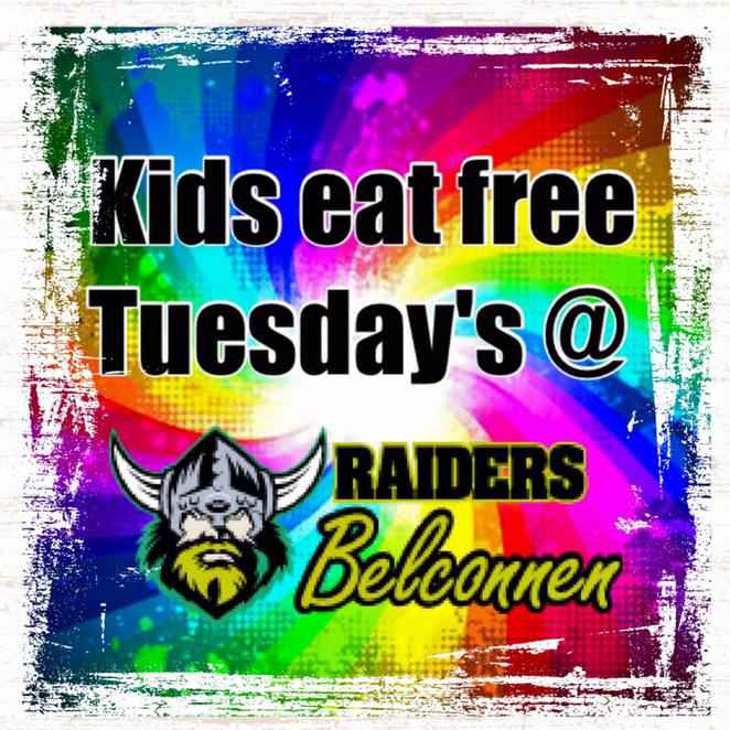 raiders belconnen, canberra, ACT, kids eat free, families, kids, raiders, family restuarants,