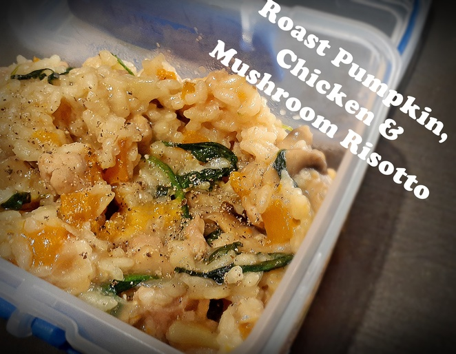 roast pumpkin, chicken and mushroom risotto, risotto, recipes, lunch box, lunch, work, healthy, easy, australia,