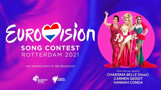 south sydney eurovision party, eurovision song contest 2021, community event, fun things to do, charisma belle host, carmen geddit, hannah conda, sbs broadcsat, georges river council, civic theatre hurstville, eurovision fans, free eurovision event, civic theatre