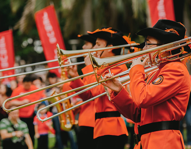 Band music is upbeat at the Sydney Easter Parade