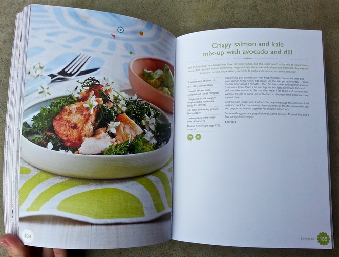 the Happy Cookbook, Lola Berry, Nutritionist, Gluten-free, sugar-free recipe book, crispy salmon and kale