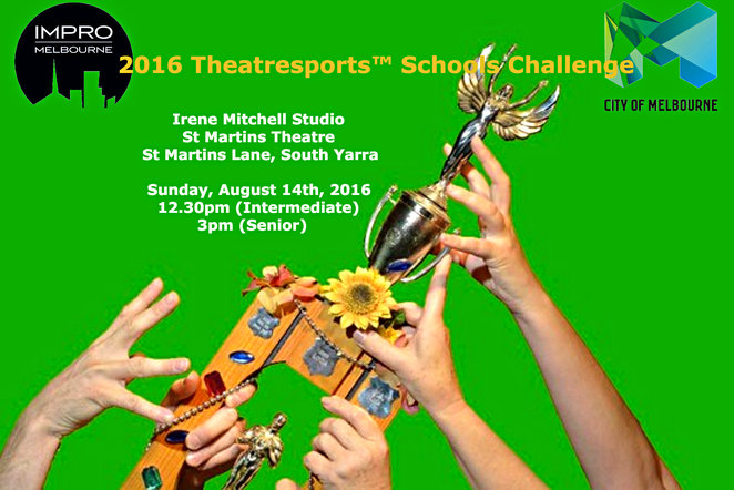 theatresports schols challenge, impro melbourne, st martins theatre, free event, city of melbourne, arts grant program, theatre, performance, entertainment, community event, fun for children, judges, theatre show, entertainment