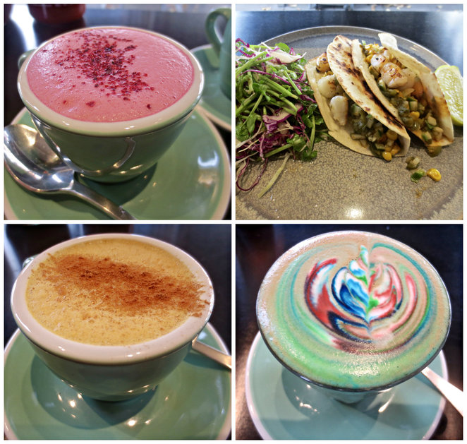 too many chiefs cafe, mitch walder, illustrator, artist, coffee, rainbow coffee, rainbow latte, beetroot latte, tumeric latte, matcha latte, lunch, breakfast, coffee culture, coffee inventions, deconstructed coffee, blaire newson, jayben newson, matcha protein balls, coffee art
