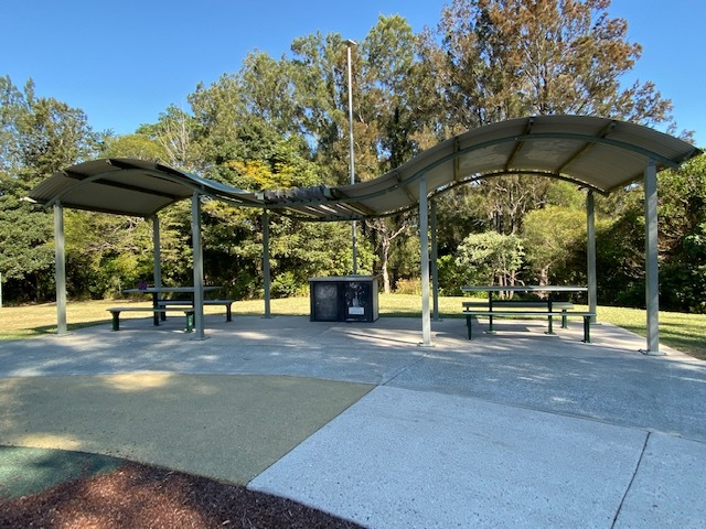 There is a shaded picnic and BBQ area adjoining the playground via the bike track
