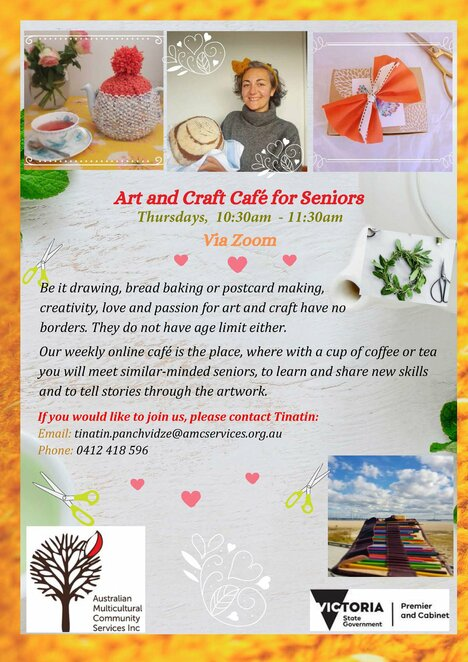 aft and craft cafe for seniors, community events, fun things to do, activities for the elderly, australian multicultural community services inc, fun things to do, handmade, knitting, art and craft, crochet, tinatin, knitting cafe, art and craft cafe, friendship cafe, it support cafe