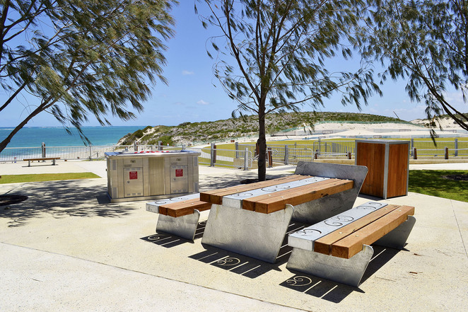 Alkimos Shorehaven water front park seating benches barbecues beach ocean north suburb Perth WA
