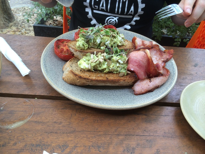 Bacon and eggs, Perth breakfast