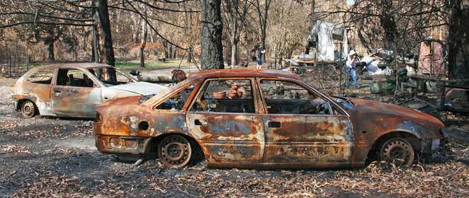 Burnt out cars.