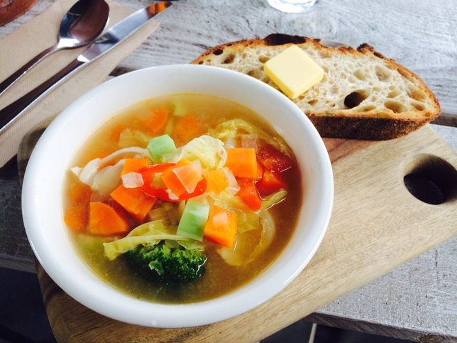 cafe merriweather brisbane south food soup broth chicken vegetable bread butter delicious