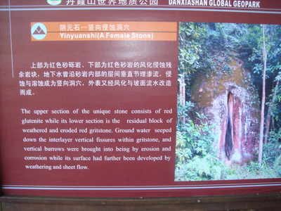 Description of one of the natural rock formations in Dan Xia Mountain in Shao Guan