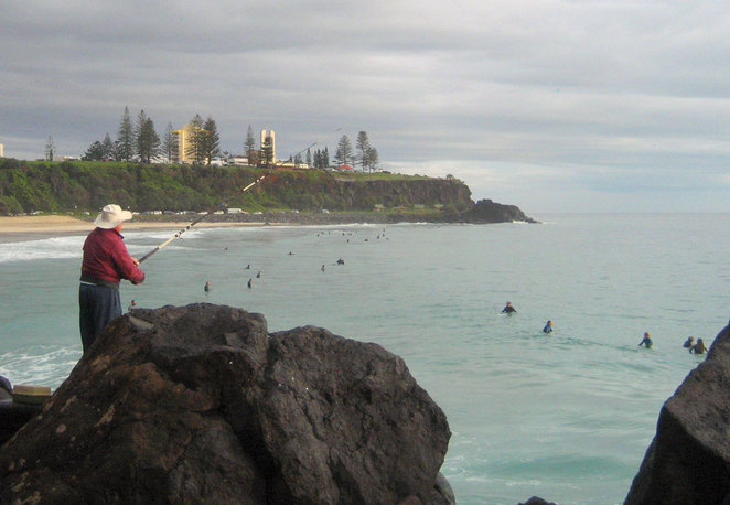 Duranbah Beach attracts fisher folk and surfers