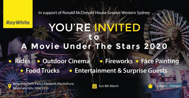 family fun day 2020, a movie under the stars 2020, community event, fun things to do, fundraiser, charity, bella vista garm park, ray white castle hill, ronald mcdonald house charities, entertainment, activities, rides, outdoor cinema, fireworks, face painting, market stalls food trucks
