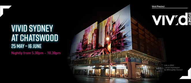Giant,screen,at,Vivid,Chatswood